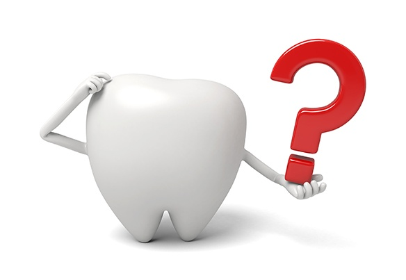 Animated tooth holding a question mark