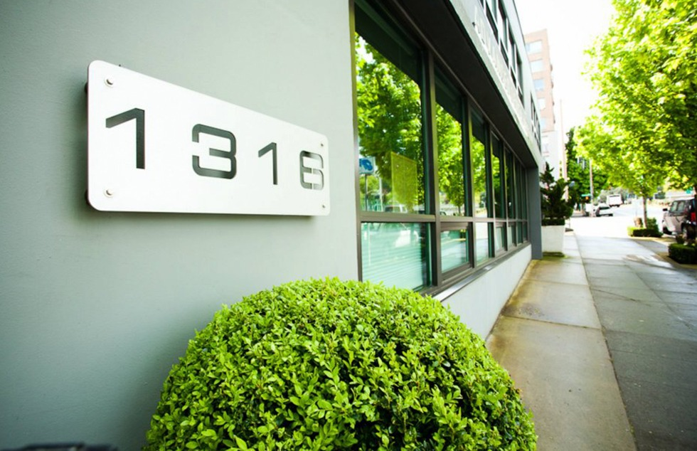Address sign on outside of building